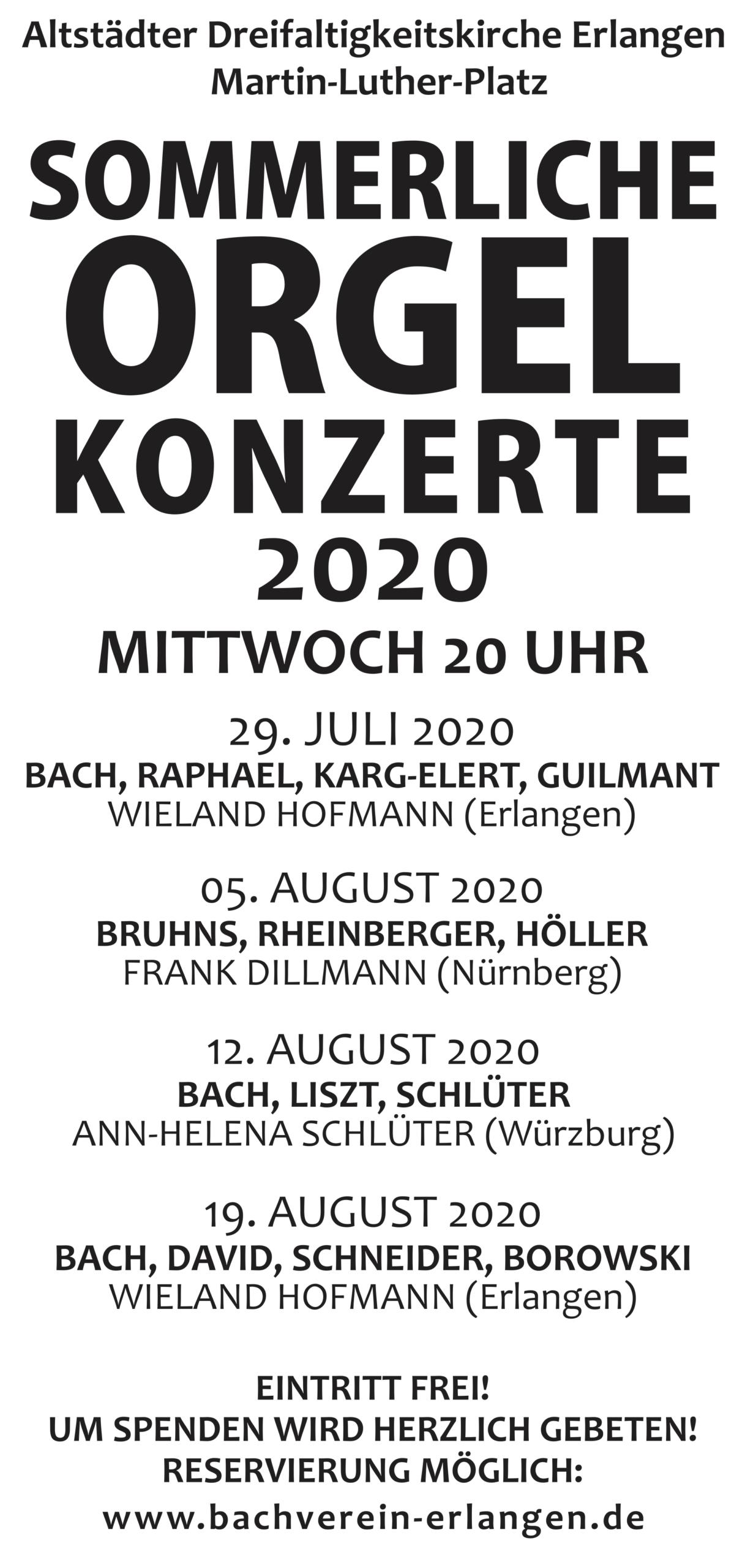 Sommerliche Orgelkonzerte2020