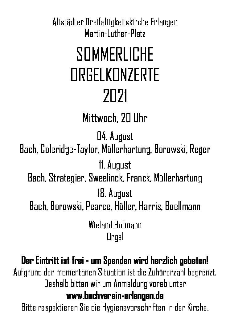 Sommerliche Orgelkonzerte 2021